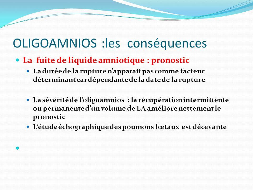 La fuite de liquide amniotique : pronostic La durée de la rupture napparait pas comme facteur déterminant car dépendante de la date de la rupture La s