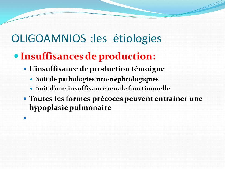 OLIGOAMNIOS :les étiologies Insuffisances de production: Linsuffisance de production témoigne Soit de pathologies uro-néphrologiques Soit dune insuffi