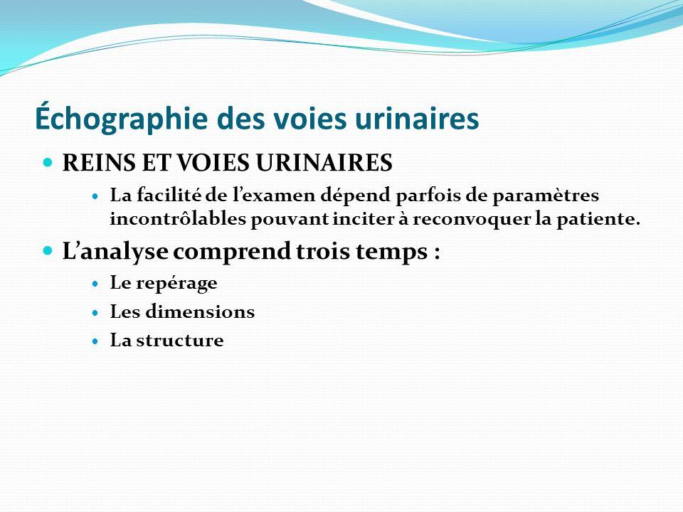 Échographie des voies urinaires REINS ET VOIES URINAIRES La facilité de lexamen dépend parfois de paramètres incontrôlables pouvant inciter à reconvoq