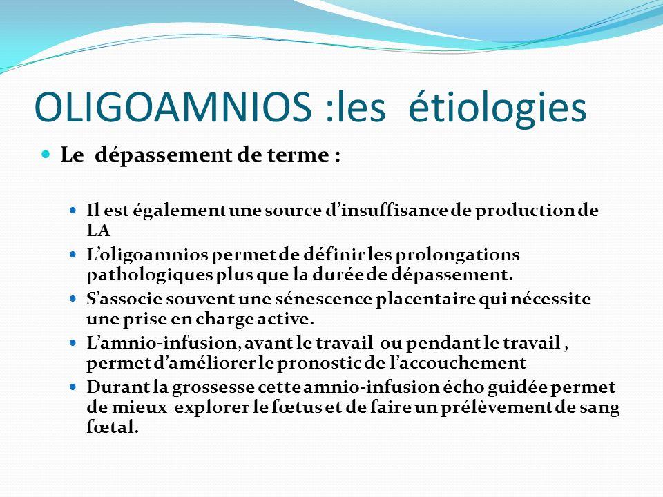 OLIGOAMNIOS :les étiologies Le dépassement de terme : Il est également une source dinsuffisance de production de LA Loligoamnios permet de définir les