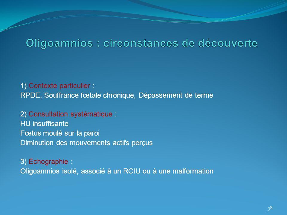 1) Contexte particulier : RPDE, Souffrance fœtale chronique, Dépassement de terme 2) Consultation systématique : HU insuffisante Fœtus moulé sur la pa