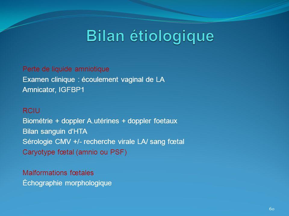 Perte de liquide amniotique Examen clinique : écoulement vaginal de LA Amnicator, IGFBP1 RCIU Biométrie + doppler A.utérines + doppler foetaux Bilan s