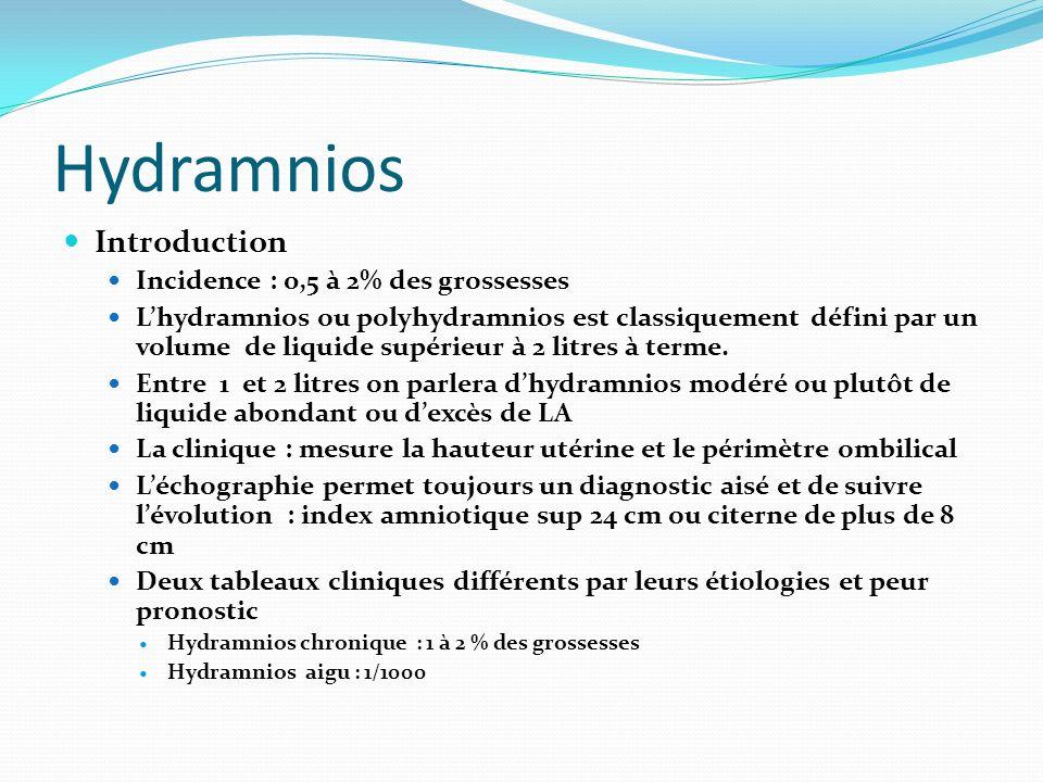 Hydramnios Introduction Incidence : 0,5 à 2% des grossesses Lhydramnios ou polyhydramnios est classiquement défini par un volume de liquide supérieur
