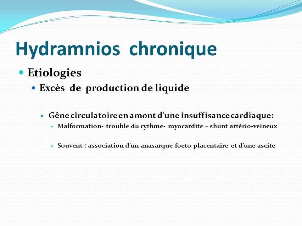 Hydramnios chronique Etiologies Excès de production de liquide Gêne circulatoire en amont dune insuffisance cardiaque: Malformation- trouble du rythme