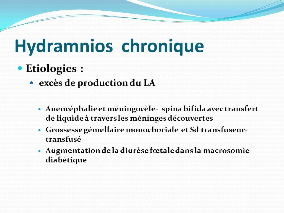 Hydramnios chronique Etiologies : excès de production du LA Anencéphalie et méningocèle- spina bifida avec transfert de liquide à travers les méninges