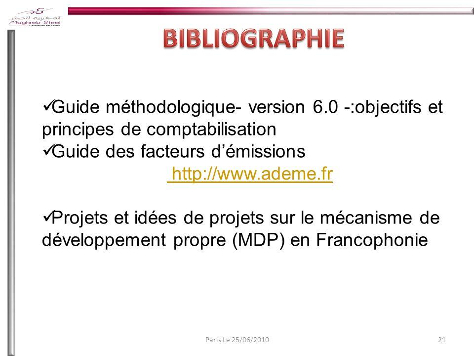 21Paris Le 25/06/2010 Guide méthodologique- version 6.0 -:objectifs et principes de comptabilisation Guide des facteurs démissions http://www.ademe.fr Projets et idées de projets sur le mécanisme de développement propre (MDP) en Francophonie