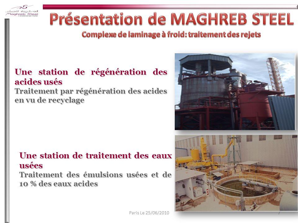 7Paris Le 25/06/2010 Une station de régénération des acides usés Traitement par régénération des acides en vu de recyclage Une station de traitement des eaux usées Traitement des émulsions usées et de 10 % des eaux acides