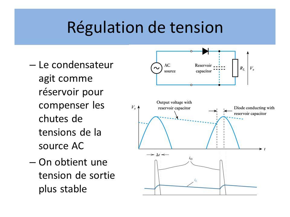 Régulation de tension – Le condensateur agit comme réservoir pour compenser les chutes de tensions de la source AC – On obtient une tension de sortie