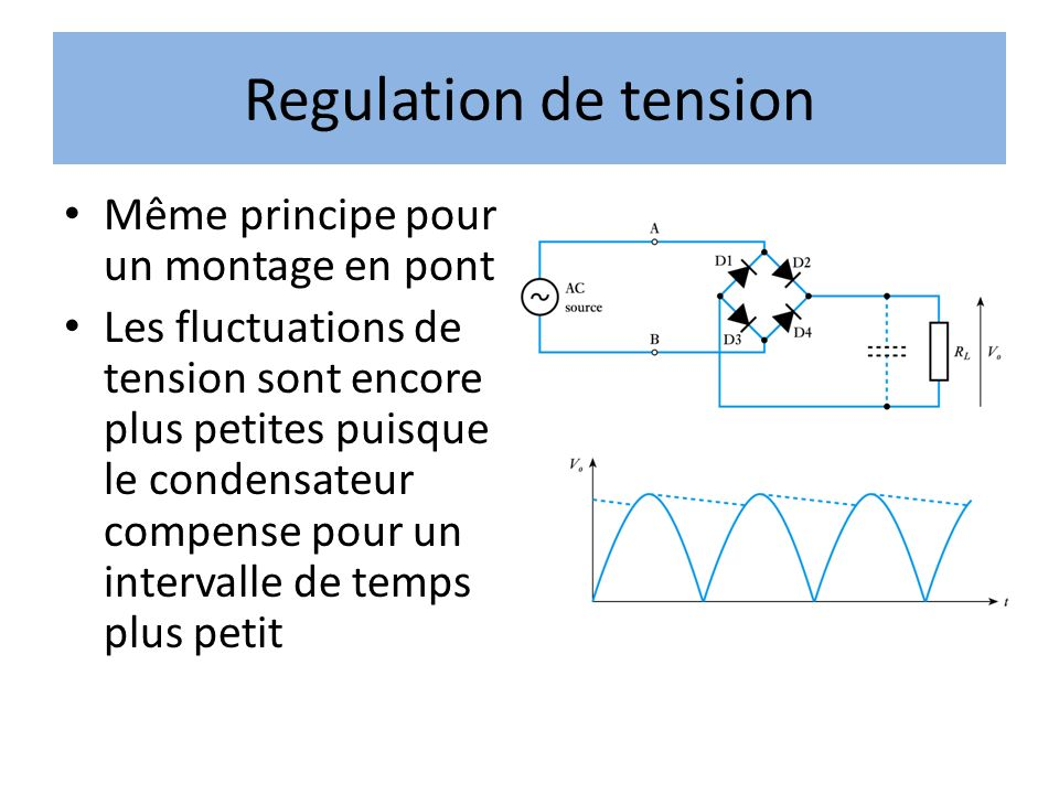 Regulation de tension Même principe pour un montage en pont Les fluctuations de tension sont encore plus petites puisque le condensateur compense pour