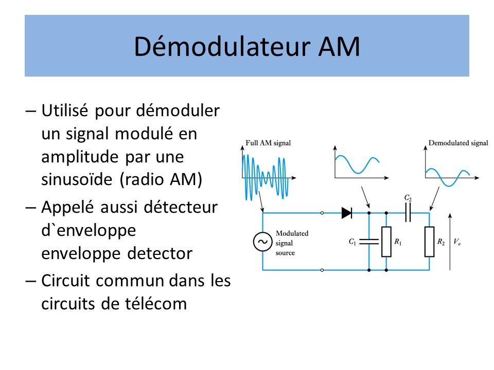 Démodulateur AM – Utilisé pour démoduler un signal modulé en amplitude par une sinusoïde (radio AM) – Appelé aussi détecteur d`enveloppe enveloppe det