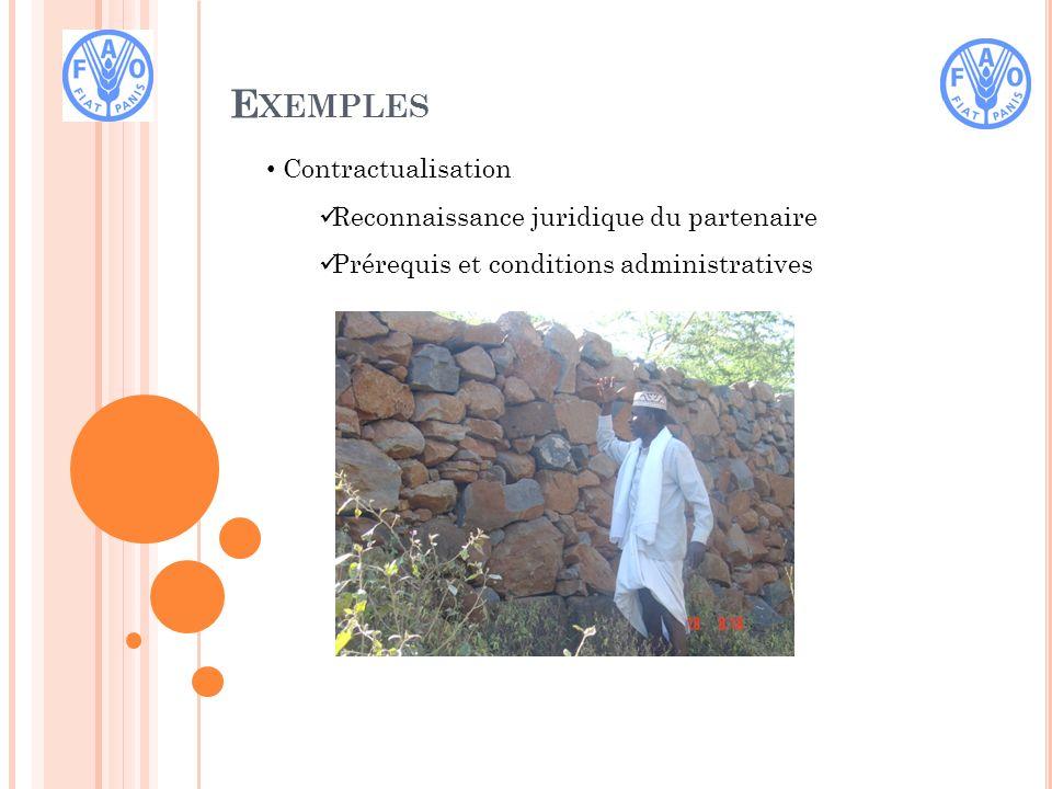 E XEMPLES Contractualisation Reconnaissance juridique du partenaire Prérequis et conditions administratives