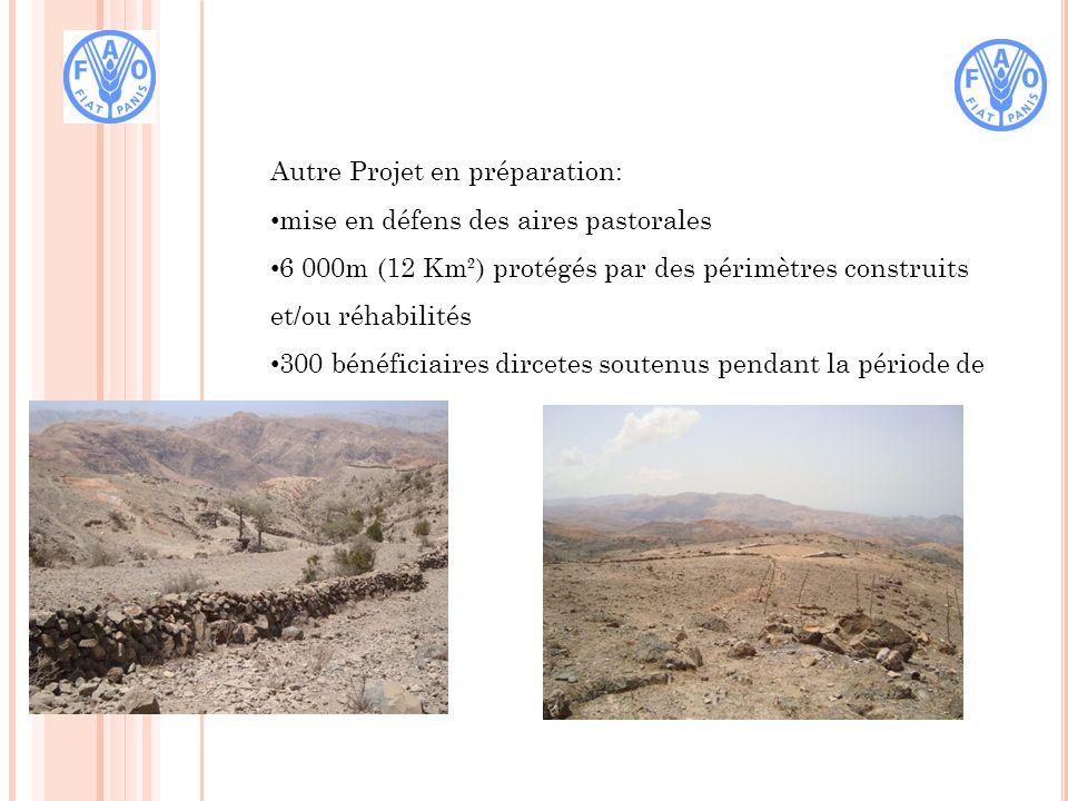 Autre Projet en préparation: mise en défens des aires pastorales 6 000m (12 Km²) protégés par des périmètres construits et/ou réhabilités 300 bénéficiaires dircetes soutenus pendant la période de soudure