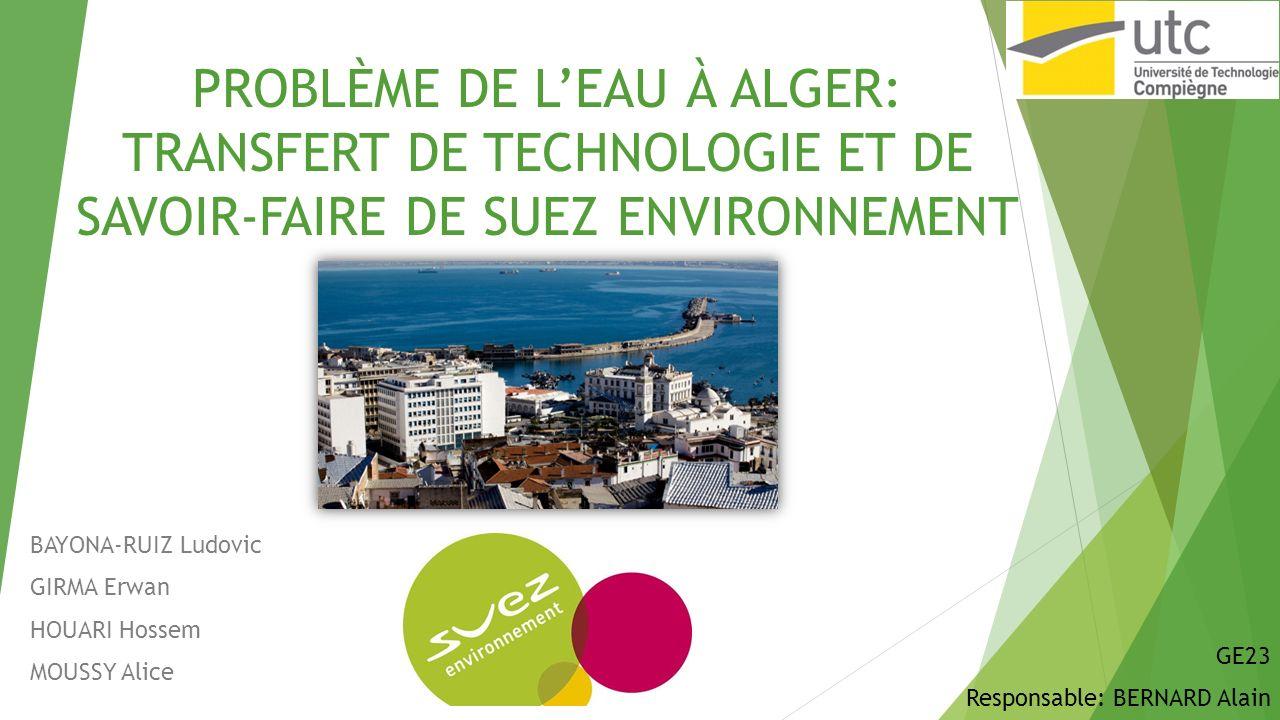 IV.Résultats et analyse Résultats 1) 8 % de la population algéroise avait accès à leau 24h/24 en 2006 contre 100% en 2011 2) 300 000 compteurs installés 3) 130 000 fuites réparés 4) 220 km de canalisation deau remplacés 22