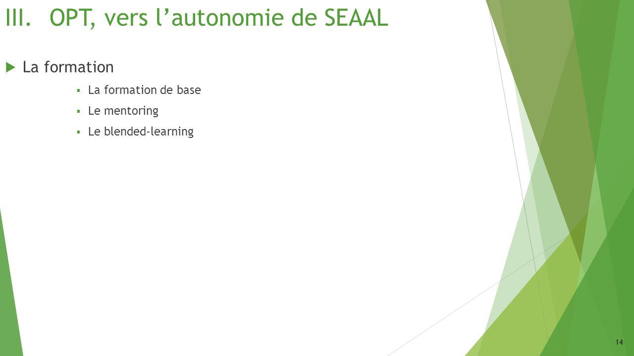 III.OPT, vers lautonomie de SEAAL La formation La formation de base Le mentoring Le blended-learning 14