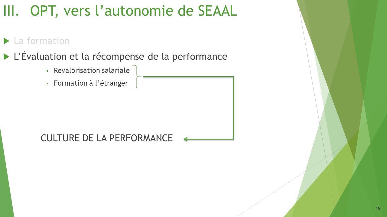 III.OPT, vers lautonomie de SEAAL La formation LÉvaluation et la récompense de la performance Revalorisation salariale Formation à létranger 19 CULTUR