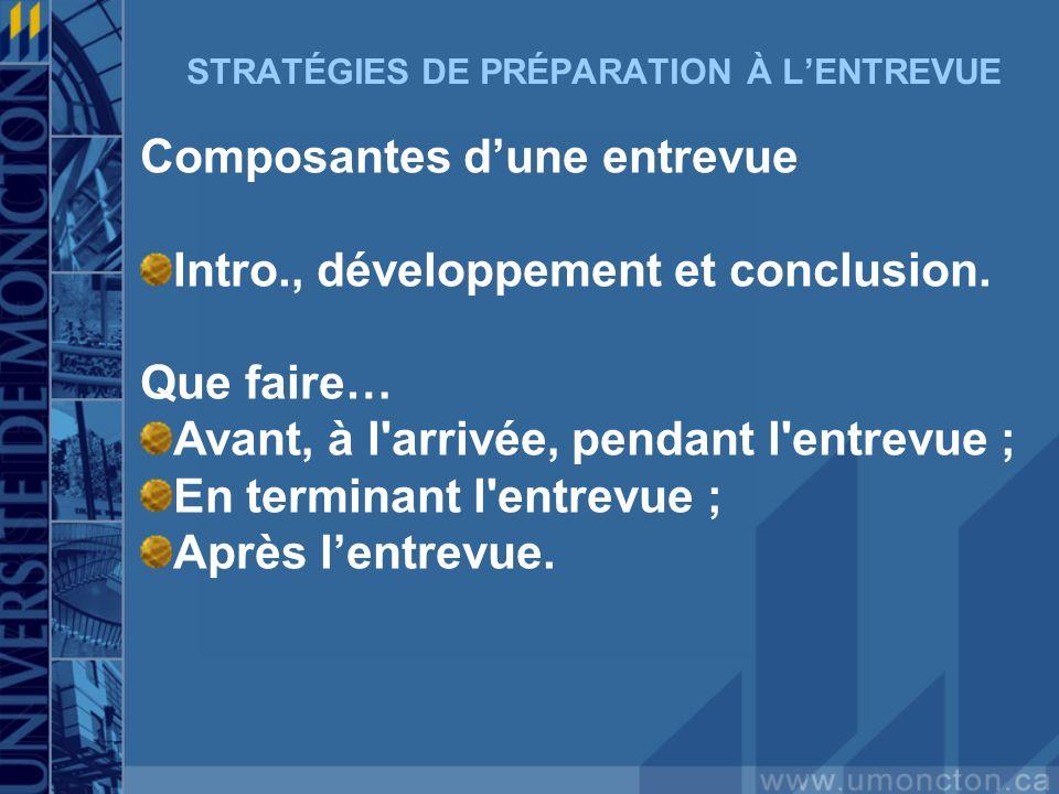 STRATÉGIES DE PRÉPARATION À LENTREVUE Composantes dune entrevue Intro., développement et conclusion. Que faire… Avant, à l'arrivée, pendant l'entrevue