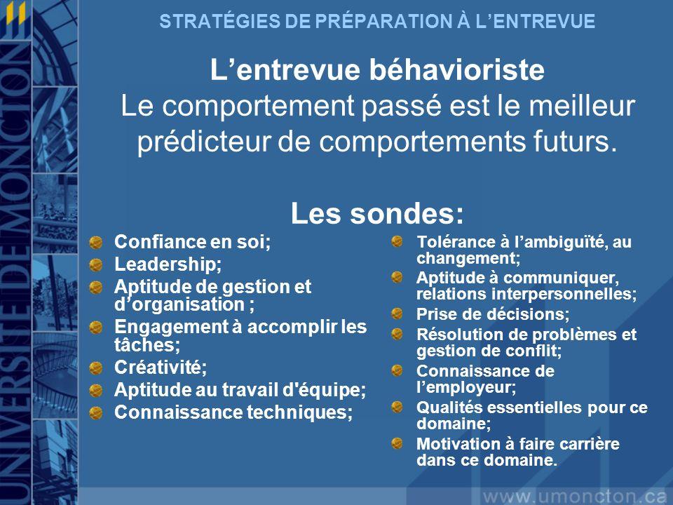 STRATÉGIES DE PRÉPARATION À LENTREVUE Lentrevue béhavioriste Le comportement passé est le meilleur prédicteur de comportements futurs. Les sondes: Con