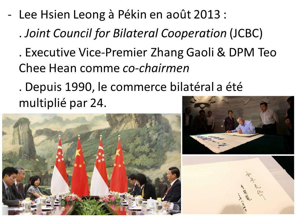 -Lee Hsien Leong à Pékin en août 2013 :. Joint Council for Bilateral Cooperation (JCBC). Executive Vice-Premier Zhang Gaoli & DPM Teo Chee Hean comme