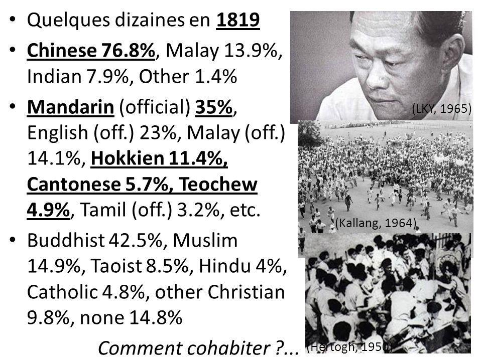 Quelques dizaines en 1819 Chinese 76.8%, Malay 13.9%, Indian 7.9%, Other 1.4% Mandarin (official) 35%, English (off.) 23%, Malay (off.) 14.1%, Hokkien