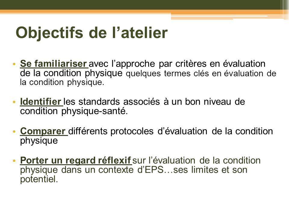 Objectifs de latelier Se familiariser avec lapproche par critères en évaluation de la condition physique quelques termes clés en évaluation de la cond