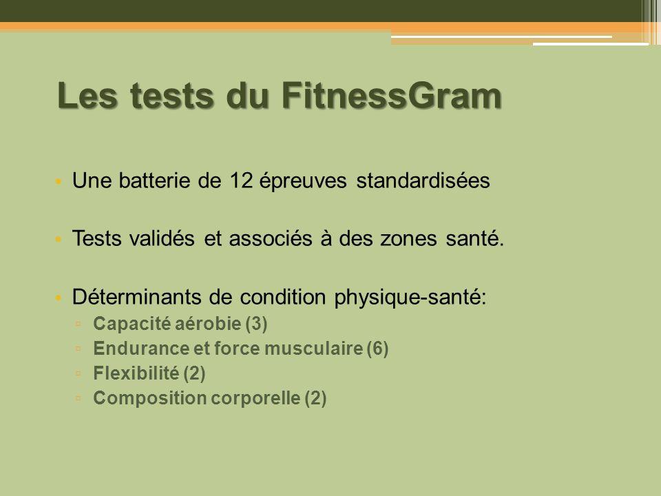Les tests du FitnessGram Une batterie de 12 épreuves standardisées Tests validés et associés à des zones santé. Déterminants de condition physique-san