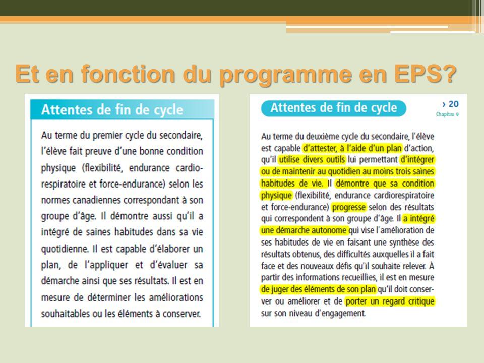 Et en fonction du programme en EPS?