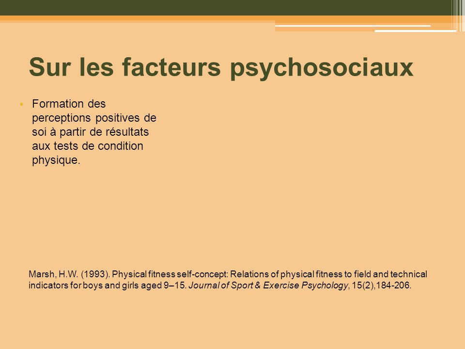 Sur les facteurs psychosociaux Formation des perceptions positives de soi à partir de résultats aux tests de condition physique. Marsh, H.W. (1993). P