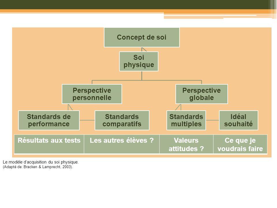 Le modèle dacquisition du soi physique. (Adapté de: Bracken & Lamprecht, 2003). Concept de soi Perspective personnelle Standards comparatifs Standards