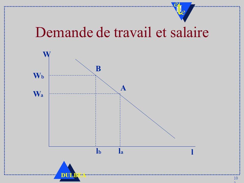 10 3 DULBEA Demande de travail et salaire W l lala lblb WbWb WaWa A B