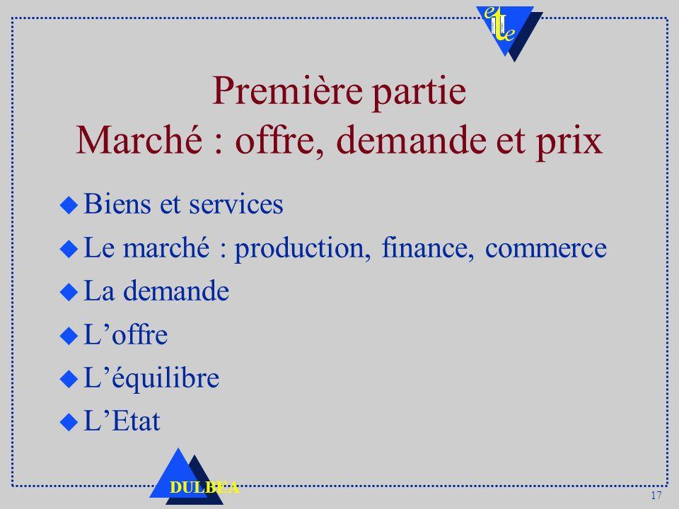 17 DULBEA Première partie Marché : offre, demande et prix u Biens et services u Le marché : production, finance, commerce u La demande u Loffre u Léqu