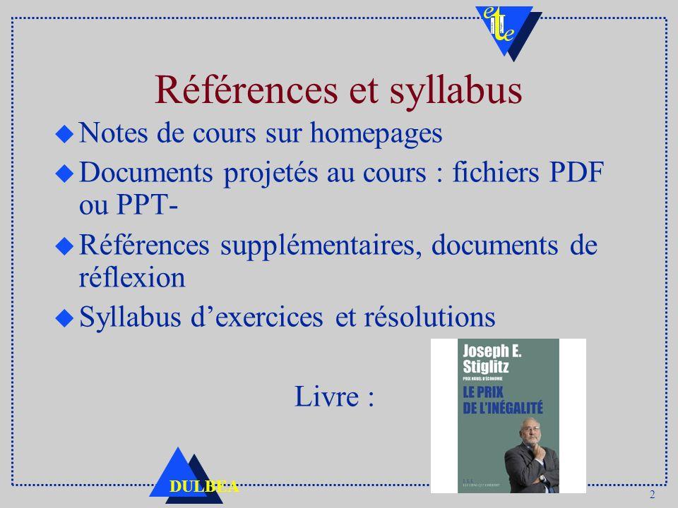 2 DULBEA Références et syllabus u Notes de cours sur homepages u Documents projetés au cours : fichiers PDF ou PPT- u Références supplémentaires, docu