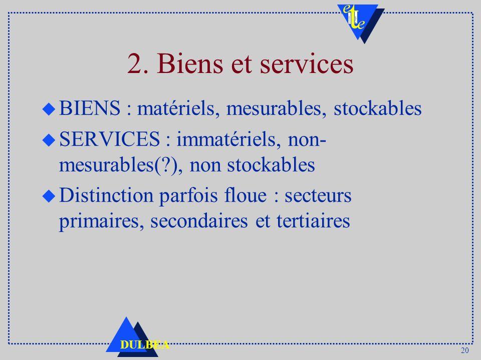 20 DULBEA 2. Biens et services u BIENS : matériels, mesurables, stockables u SERVICES : immatériels, non- mesurables(?), non stockables u Distinction