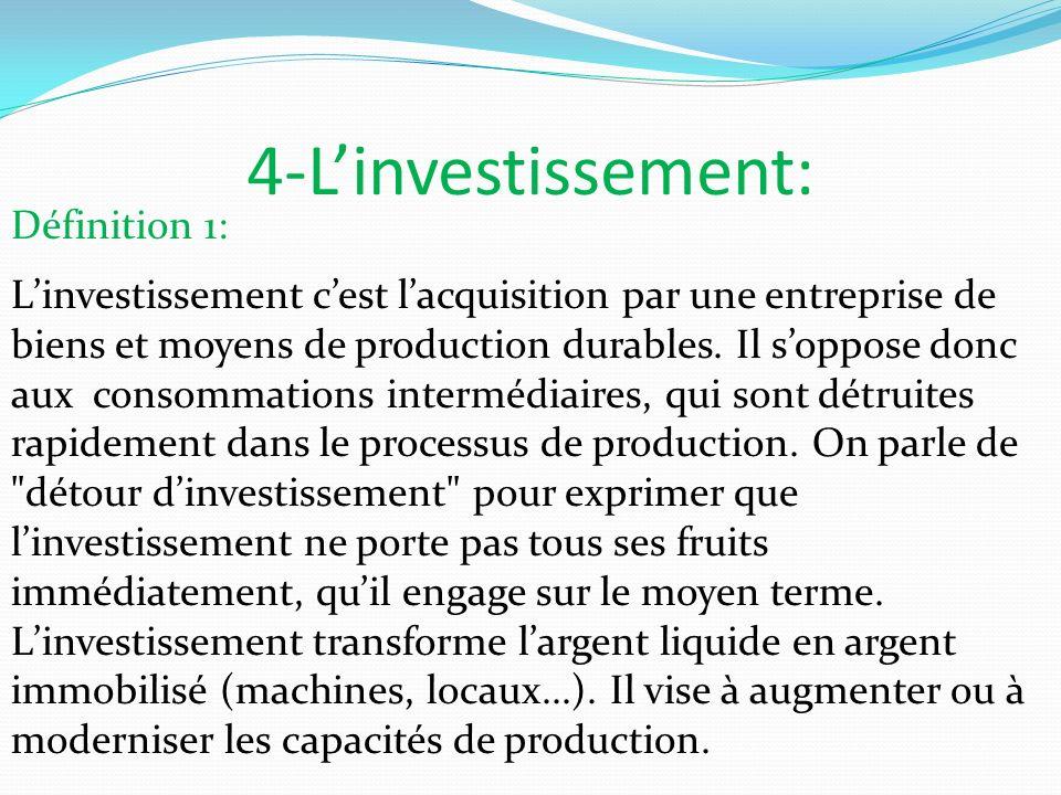 4-Linvestissement: Définition 1: Linvestissement cest lacquisition par une entreprise de biens et moyens de production durables. Il soppose donc aux c