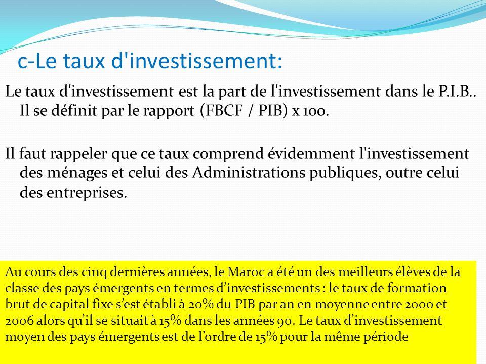 c-Le taux d'investissement: Le taux d'investissement est la part de l'investissement dans le P.I.B.. Il se définit par le rapport (FBCF / PIB) x 100.