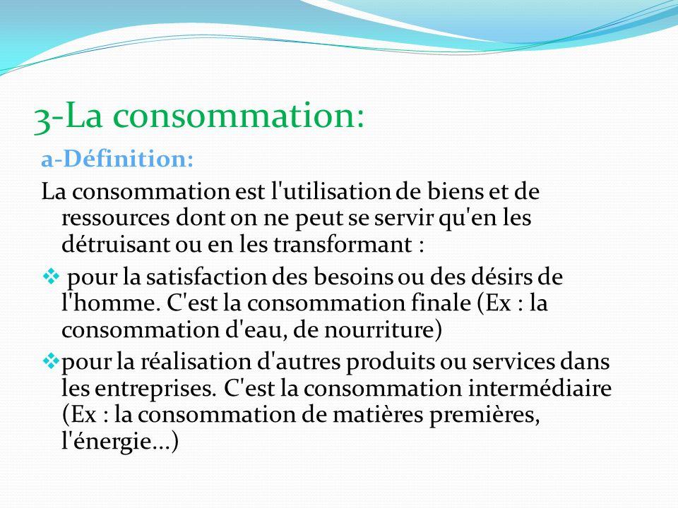 3-La consommation: a-Définition: La consommation est l'utilisation de biens et de ressources dont on ne peut se servir qu'en les détruisant ou en les