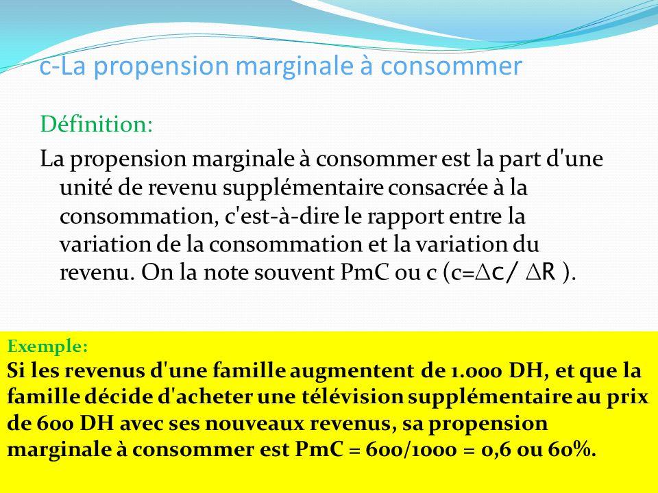 c-La propension marginale à consommer Définition: La propension marginale à consommer est la part d'une unité de revenu supplémentaire consacrée à la
