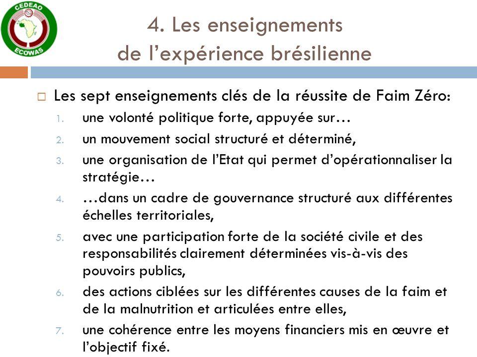 4. Les enseignements de lexpérience brésilienne Les sept enseignements clés de la réussite de Faim Zéro: 1. une volonté politique forte, appuyée sur…