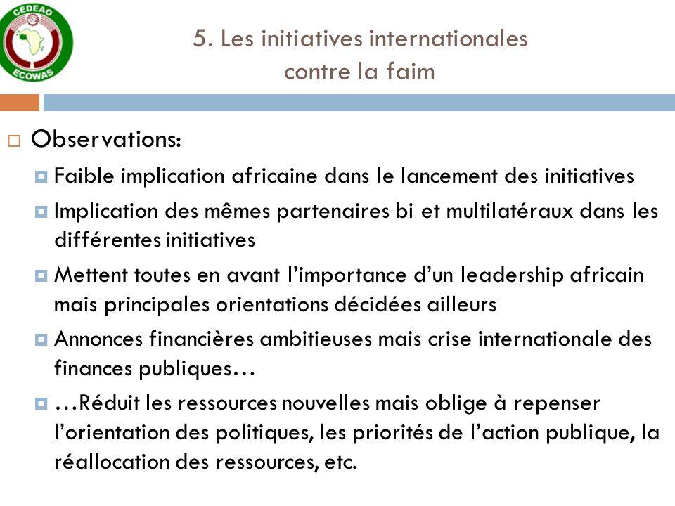 5. Les initiatives internationales contre la faim Observations: Faible implication africaine dans le lancement des initiatives Implication des mêmes p