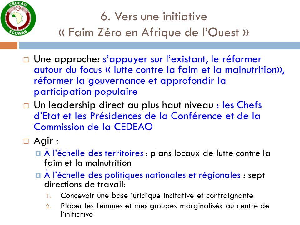 6. Vers une initiative « Faim Zéro en Afrique de lOuest » Une approche: sappuyer sur lexistant, le réformer autour du focus « lutte contre la faim et
