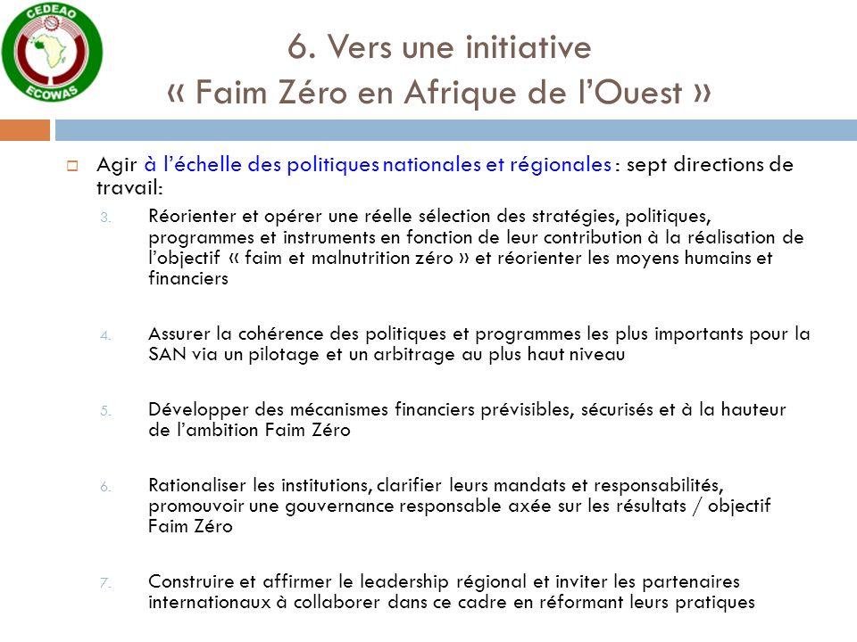 6. Vers une initiative « Faim Zéro en Afrique de lOuest » Agir à léchelle des politiques nationales et régionales : sept directions de travail: 3. Réo