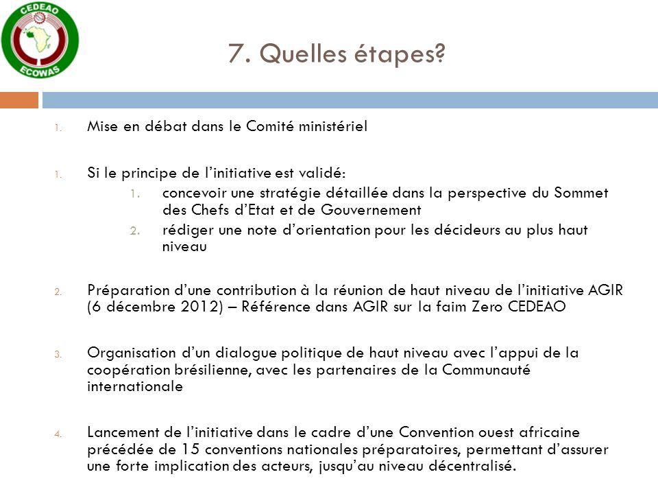 7. Quelles étapes? 1. Mise en débat dans le Comité ministériel 1. Si le principe de linitiative est validé: 1. concevoir une stratégie détaillée dans