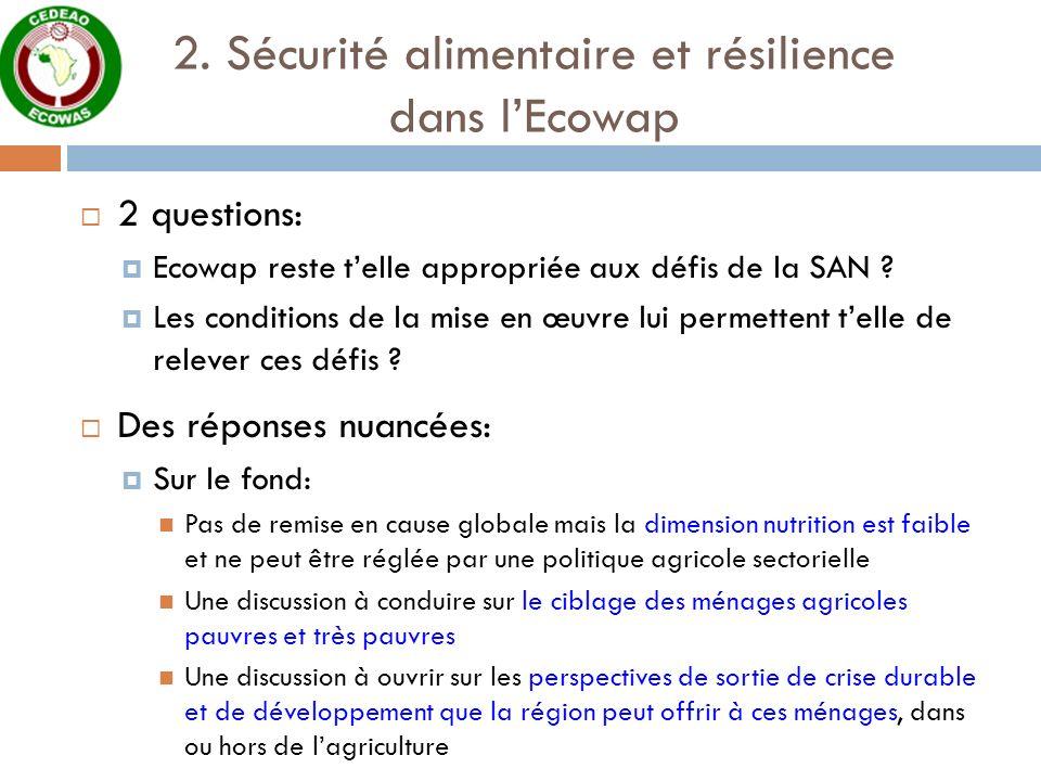 2. Sécurité alimentaire et résilience dans lEcowap 2 questions: Ecowap reste telle appropriée aux défis de la SAN ? Les conditions de la mise en œuvre