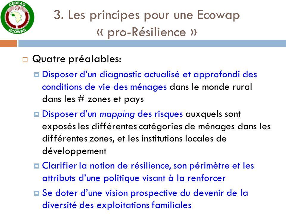 3. Les principes pour une Ecowap « pro-Résilience » Quatre préalables: Disposer dun diagnostic actualisé et approfondi des conditions de vie des ménag