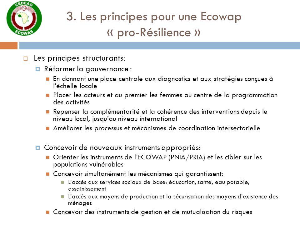 3. Les principes pour une Ecowap « pro-Résilience » Les principes structurants: Réformer la gouvernance : En donnant une place centrale aux diagnostic