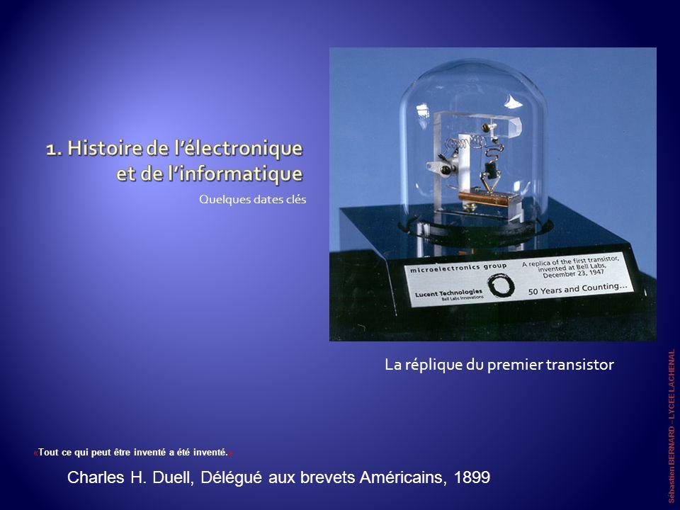 Quelques dates clés La réplique du premier transistor Sébastien BERNARD – LYCEE LACHENAL «Tout ce qui peut être inventé a été inventé.» Charles H. Due
