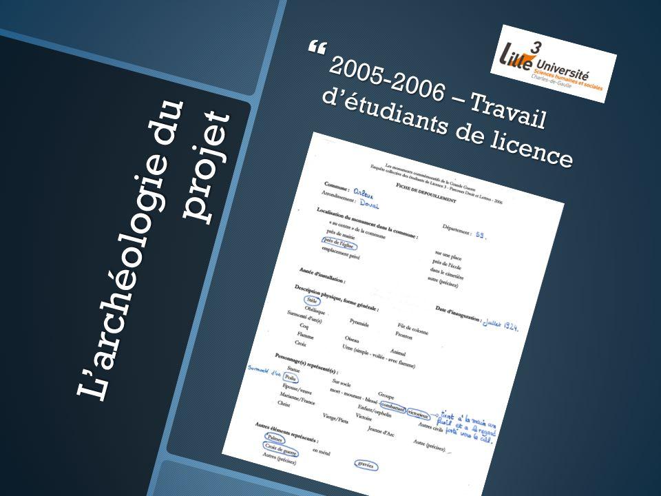 Larchéologie du projet 2005-2006 – Travail détudiants de licence 2005-2006 – Travail détudiants de licence