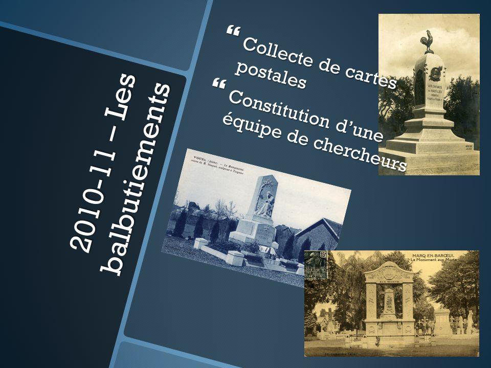 2010-11 – Les balbutiements Collecte de cartes postales Collecte de cartes postales Constitution dune équipe de chercheurs Constitution dune équipe de chercheurs