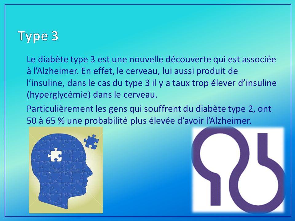 Le diabète type 3 est une nouvelle découverte qui est associée à lAlzheimer.