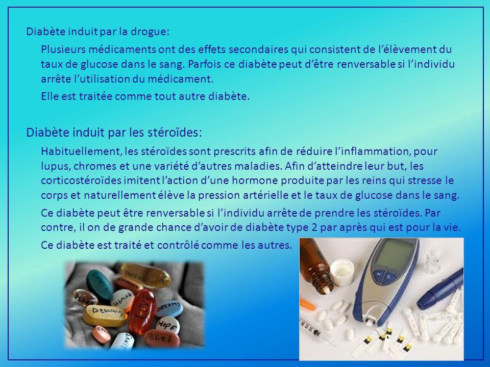 Diabète induit par la drogue: Plusieurs médicaments ont des effets secondaires qui consistent de lélèvement du taux de glucose dans le sang.