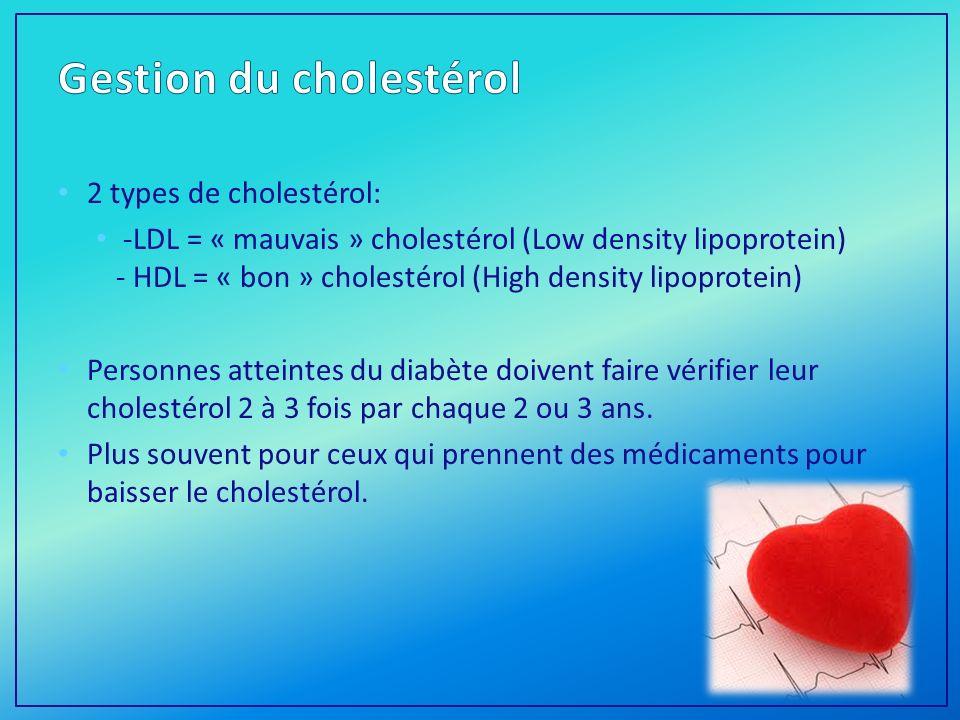 2 types de cholestérol: -LDL = « mauvais » cholestérol (Low density lipoprotein) - HDL = « bon » cholestérol (High density lipoprotein) Personnes atteintes du diabète doivent faire vérifier leur cholestérol 2 à 3 fois par chaque 2 ou 3 ans.